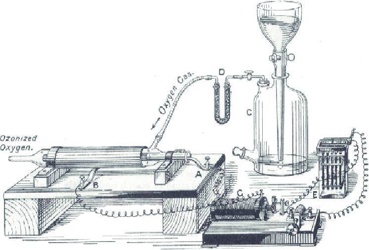 Schéma de générateur d'ozone par Werner Von Siemens en 1857