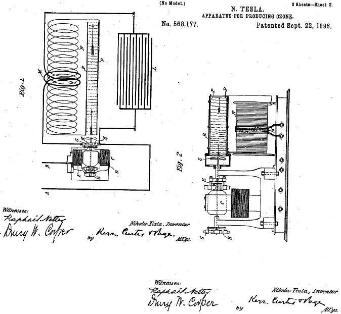 brevet de générateur d'ozone déposé par Tesla